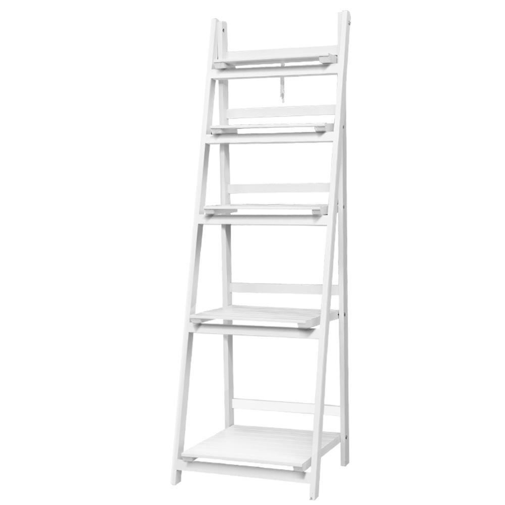 Artiss Display Shelf 5 Tier Wooden Ladder Stand Storage Book Shelves Rack White - Evopia