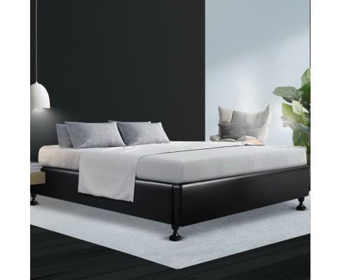 Artiss Tomi Leather Bedframe Platform Queen - Evopia
