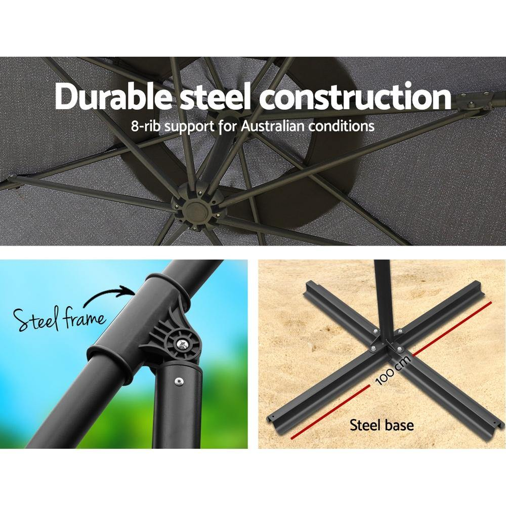 Instahut 3M Umbrella with 48x48cm Base Outdoor Umbrellas Cantilever Sun Beach Garden Patio Charcoal