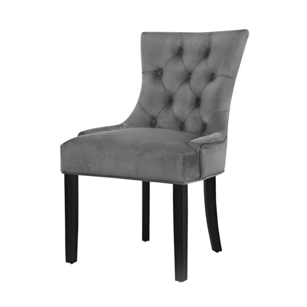 Artiss 2x Dining Chairs French Provincial Retro Chair Wooden Velvet Fabric Grey