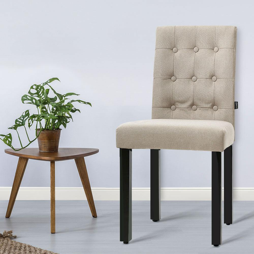 Artiss x2 DONA Dining Chair Fabric Foam Padded High Back Wooden Kitchen Beige - Evopia