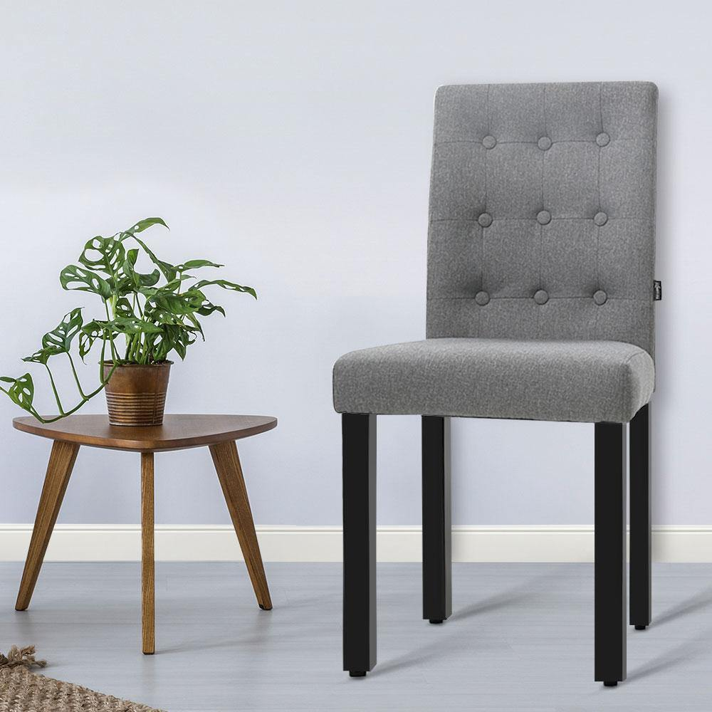Artiss x2 DONA Dining Chair Fabric Foam Padded High Back Wooden Kitchen Grey - Evopia