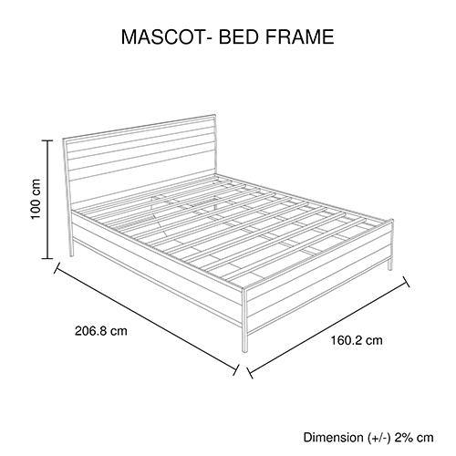 Mascot Bed Oak Colour Industrial Queen
