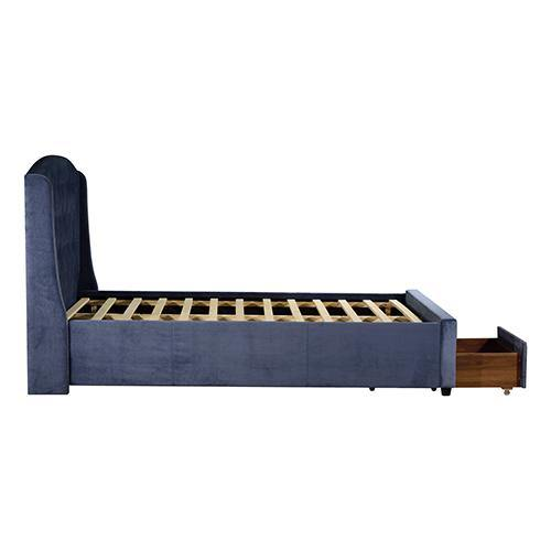 Stella Bedframe with Storage Drawers Navy Blue King Size - Evopia