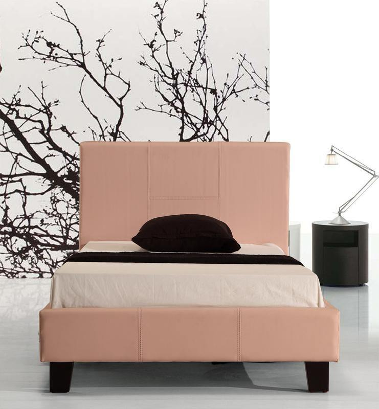 Palermo Pink PU Leather Bed Frame Single - Evopia