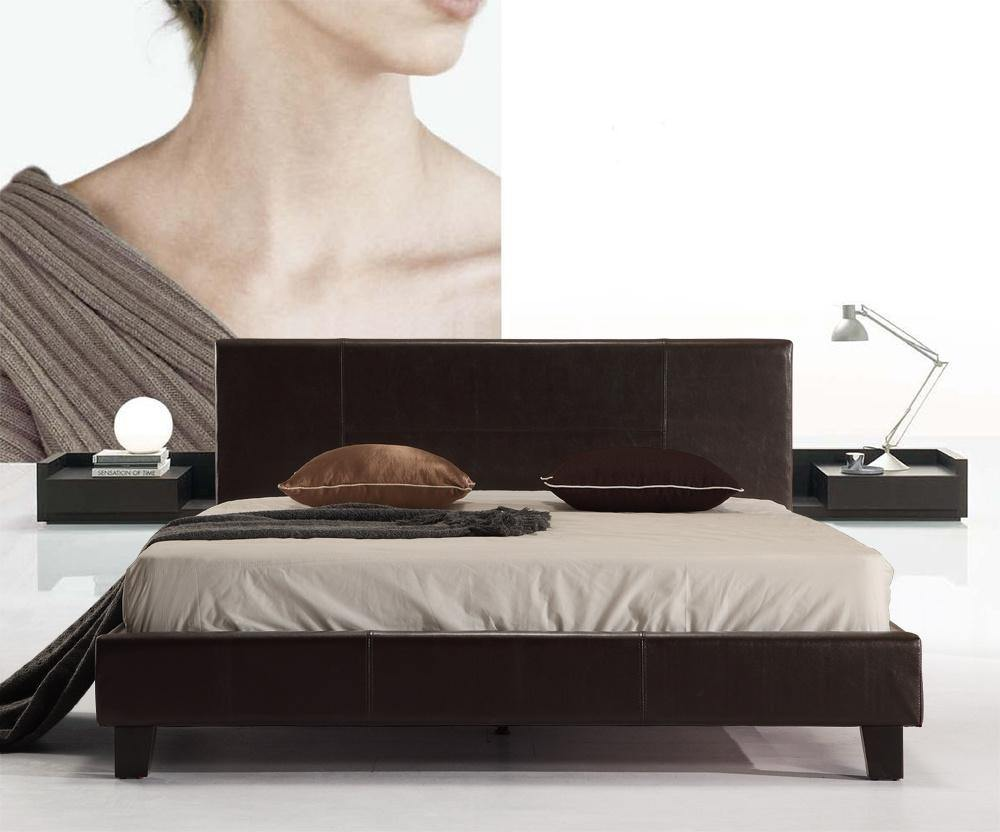 Palermo Brown Leather Bedframe Double - Evopia