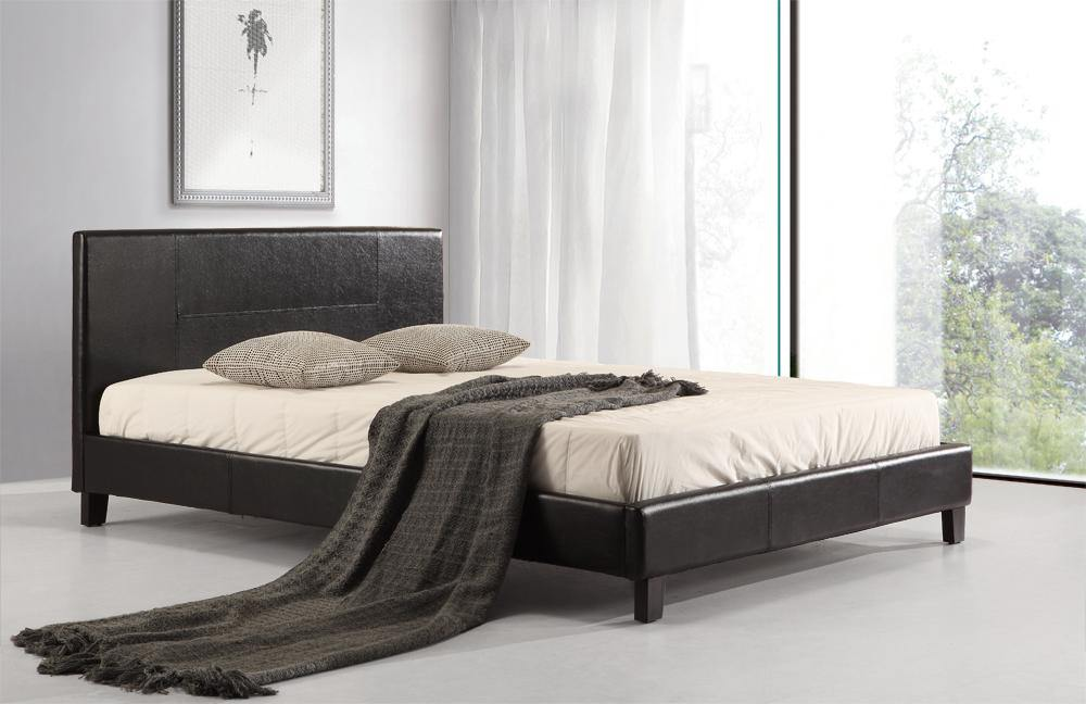 Palermo Leather Bed Frame Black Double - Evopia