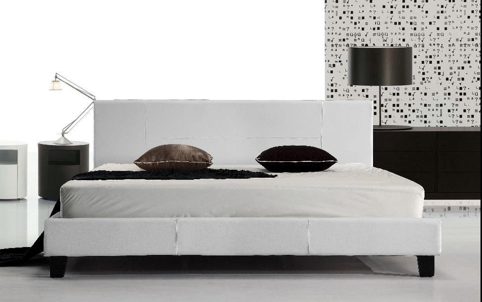 Palermo Leather Bed Frame White King - Evopia
