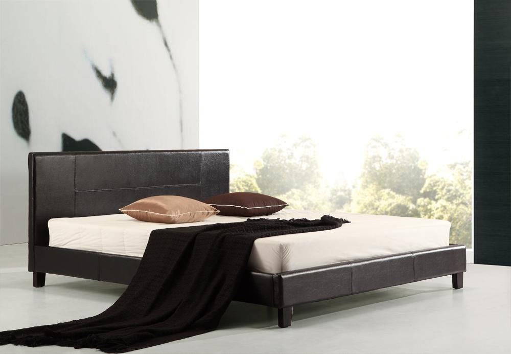 Palermo Black PU Leather Bed Frame King - Evopia