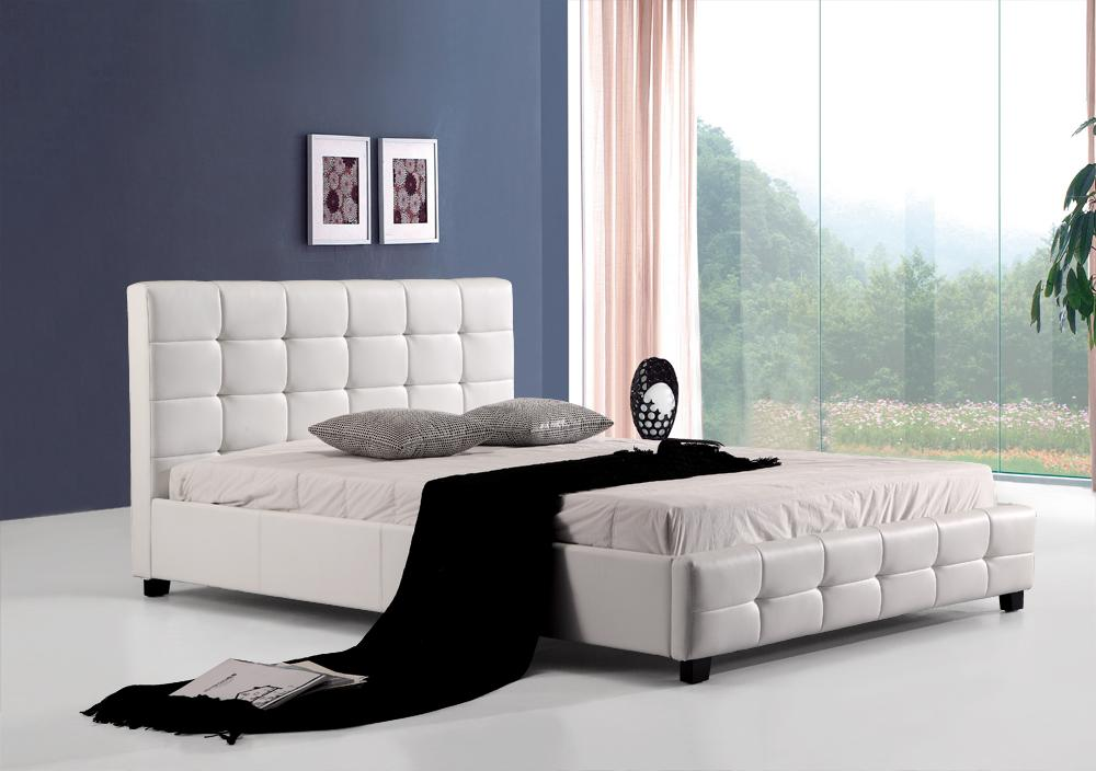 Queen PU Leather Deluxe Bed Frame White - Evopia