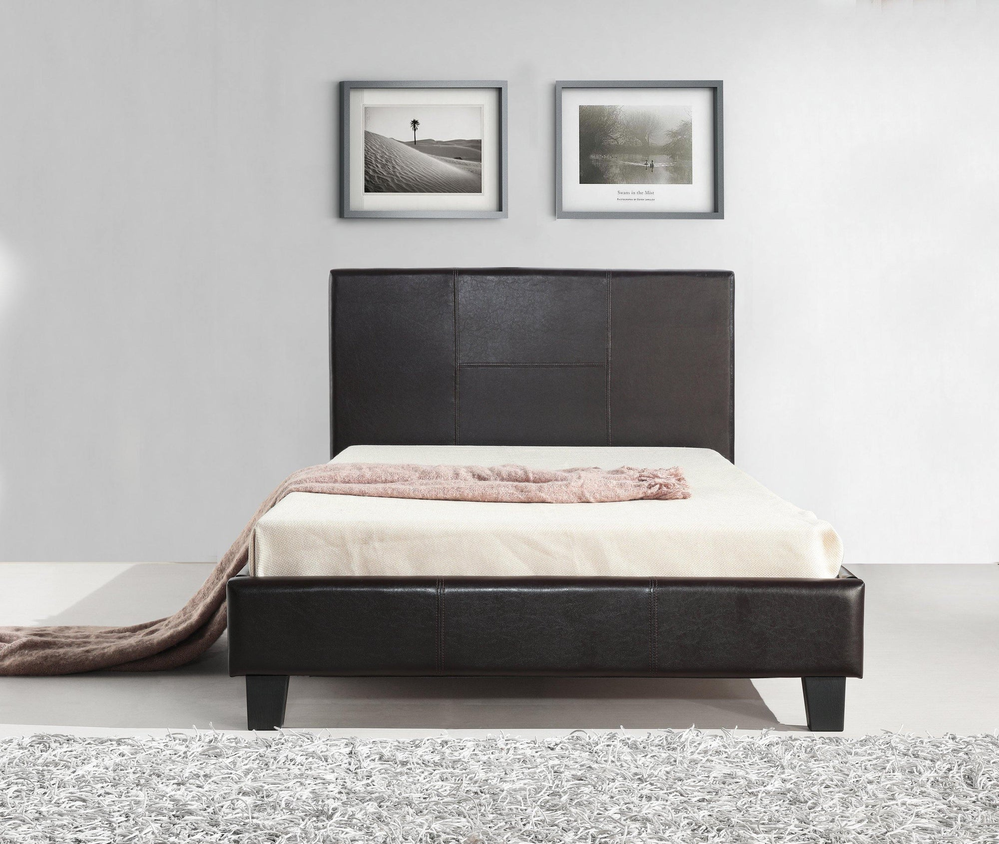 Palermo Brown Leather Bed Frame King Single - Evopia
