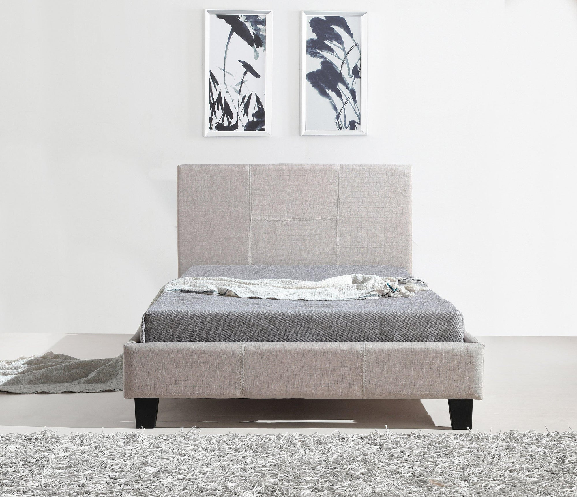 Palermo Fabric Bedframe Beige King Single - Evopia