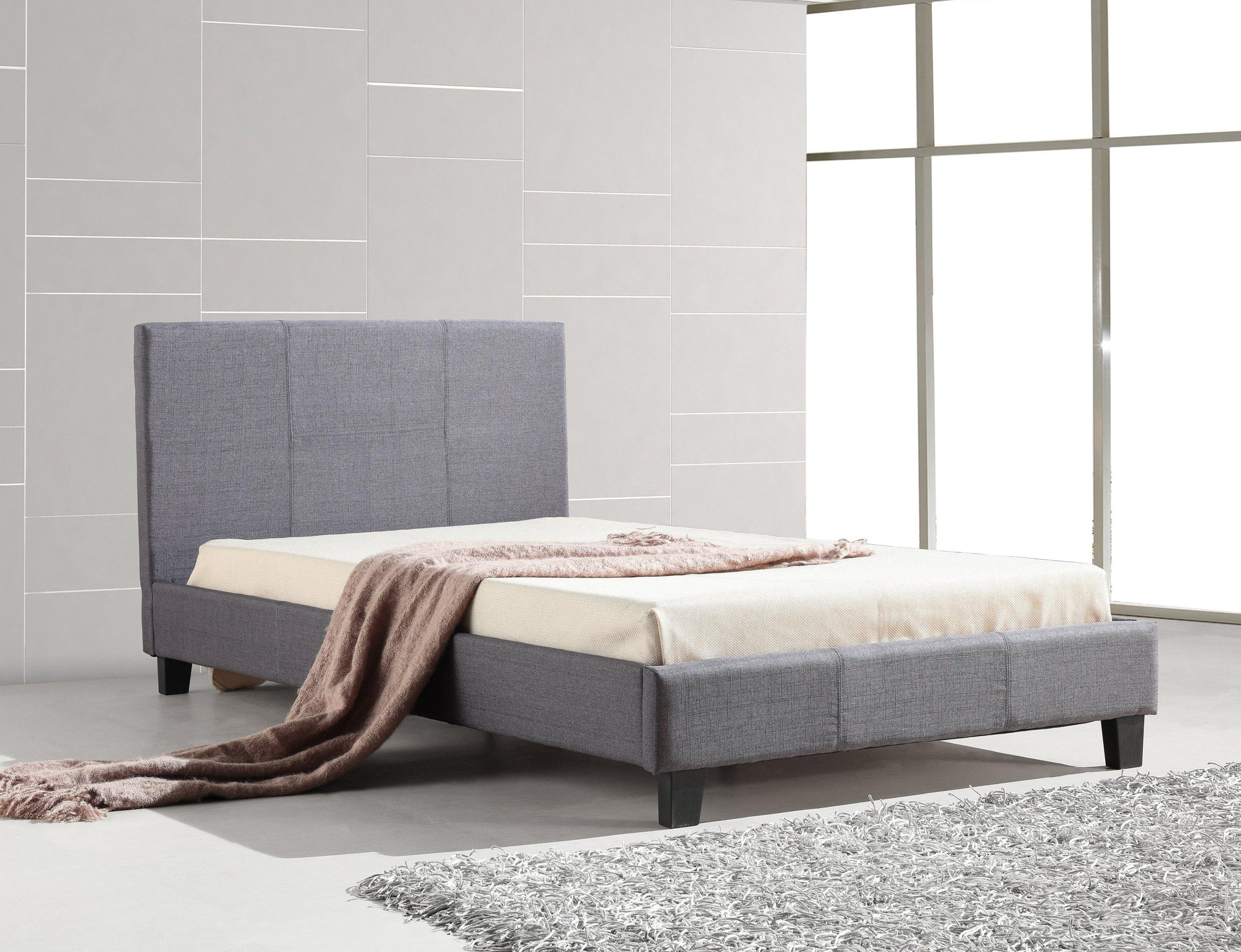 Palermo Linen Fabric Bed Frame Grey King Single - Evopia