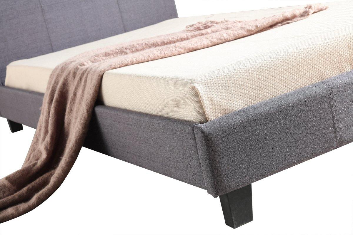 Palermo Linen Fabric Bed Frame Grey King Single