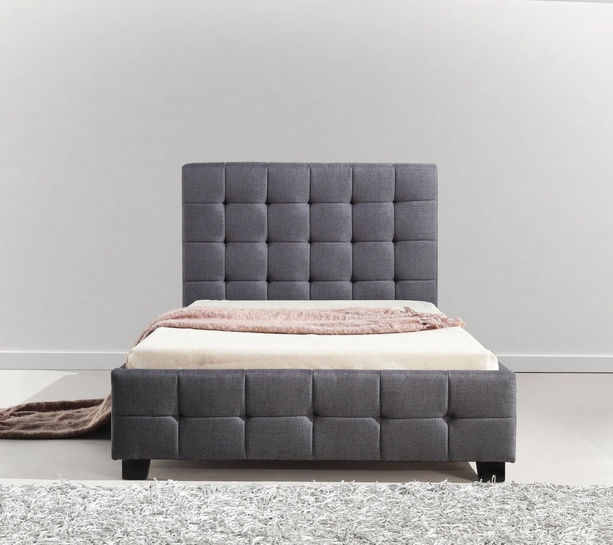 Palermo Linen Fabric Deluxe Bed Frame Grey King Single - Evopia