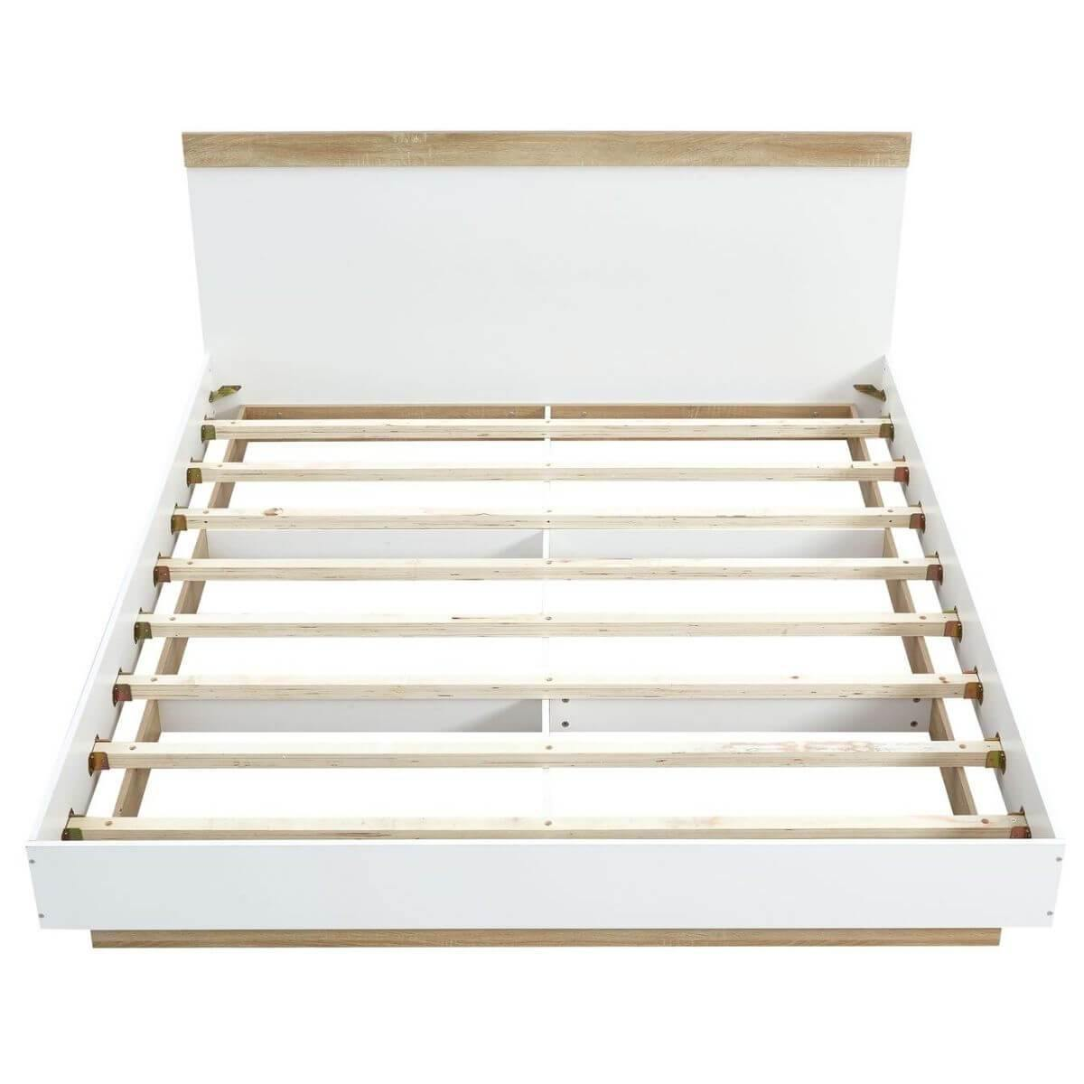 Aiden Industrial Contemporary White Oak Bed Frame King - Evopia