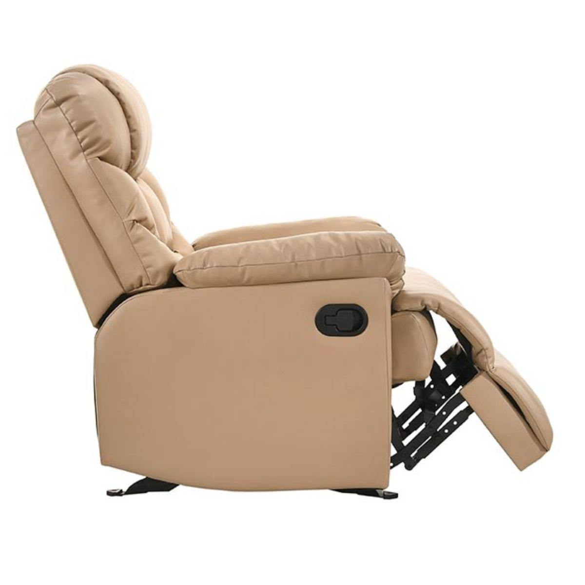 Leather Rocking Recliner Chair Armchair Swing Gliding Beige - Evopia