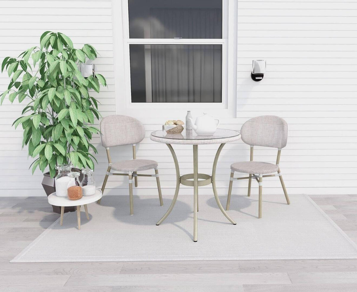 Curly White 2 Seater Rattan Outdoor Bistro Set - Evopia