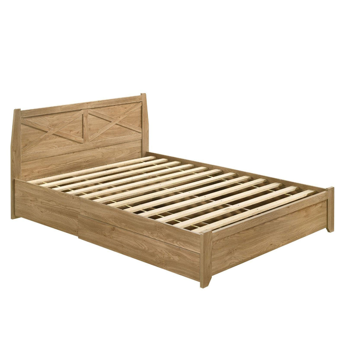 Mica Natural Wooden Bed Frame with Storage Drawers King - Evopia