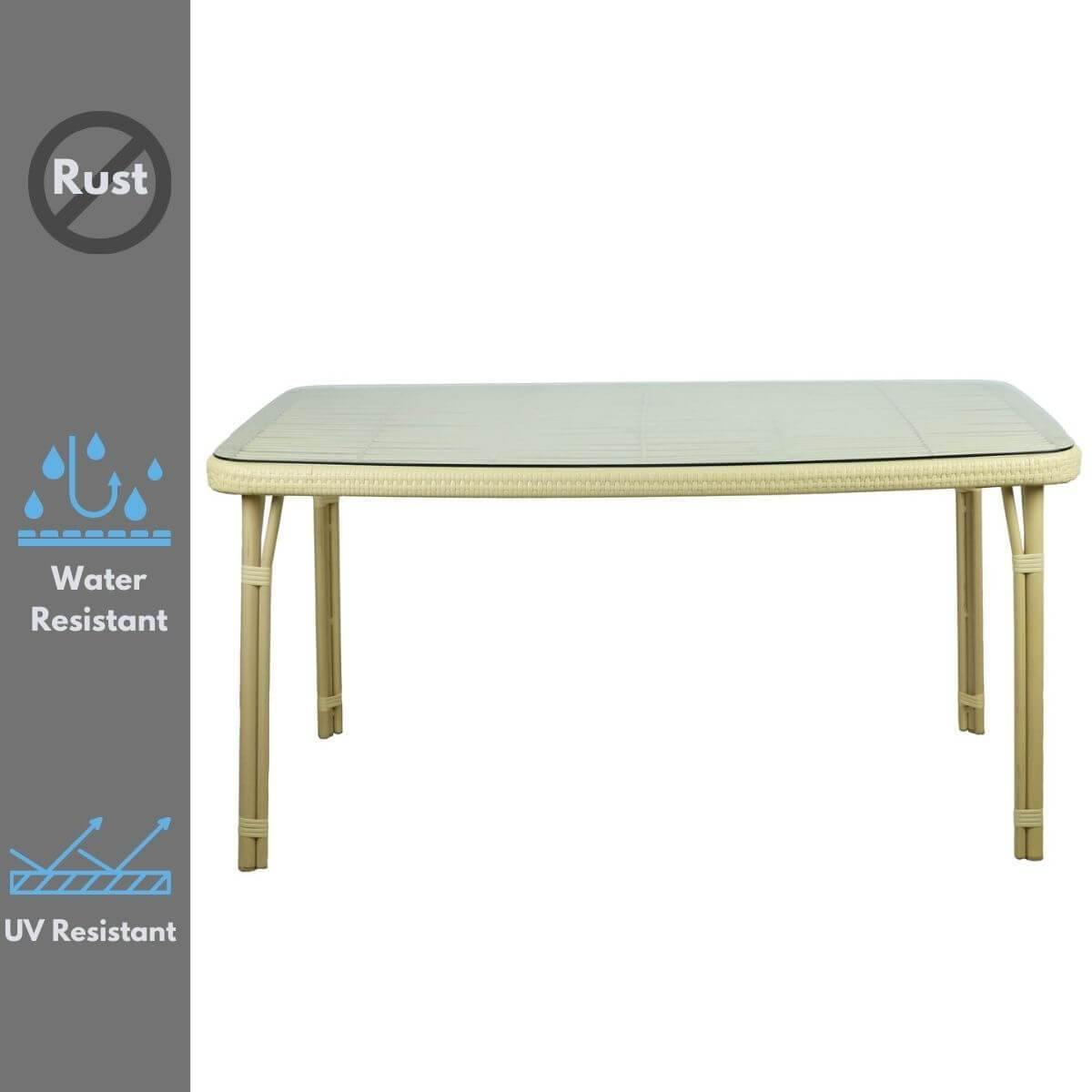 Curly Mediterranean Natural Outdoor Dining Table - Evopia
