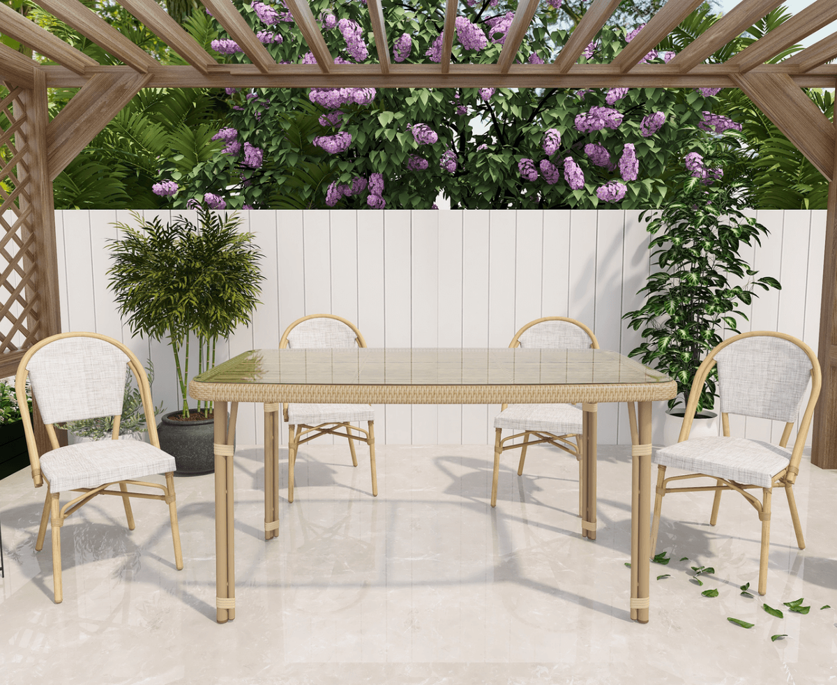 Momo Sun Proof Rattan Natural Outdoor Dining Set - Evopia