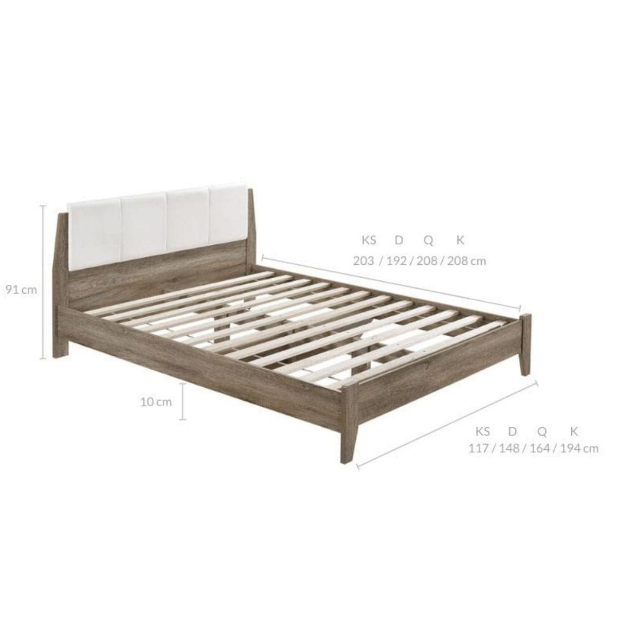 Scandi Wooden Bed Frame with Leather Upholstered Bed Head King - Evopia