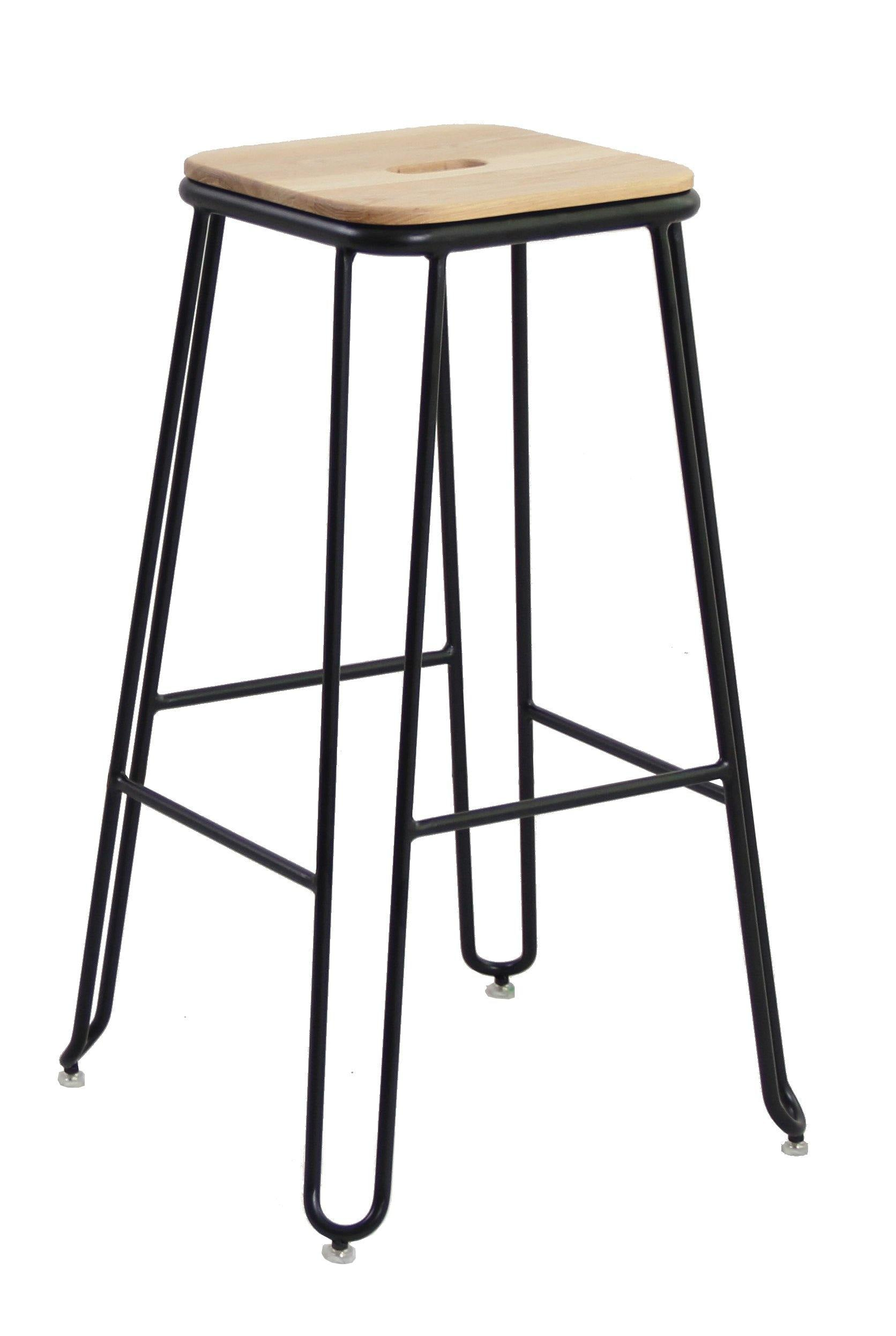 Ash Wood & Steel Industrial Bar Stool - Evopia
