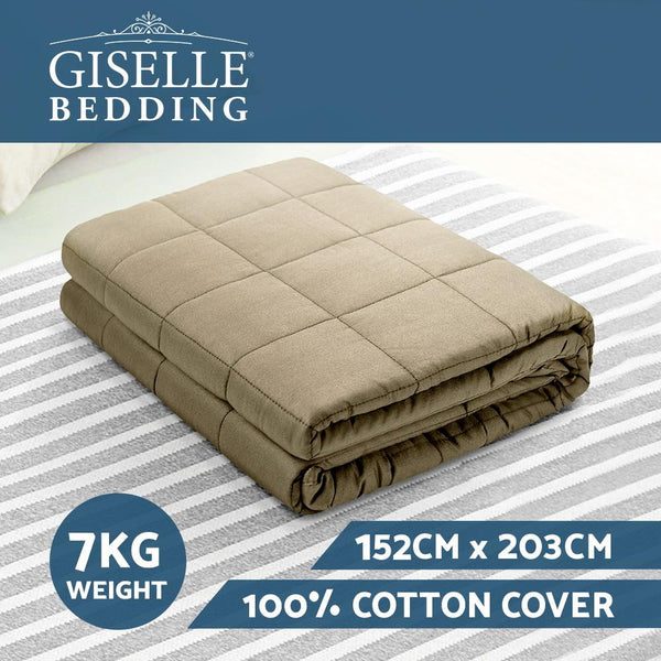 Giselle Bedding 7KG Cotton Gravity Weighted Blanket Deep Relax Sleep Adult Brown - Evopia