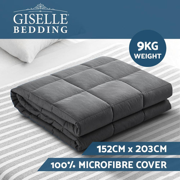 Weighted Blanket Adult 9KG Heavy Gravity Blankets Microfibre Cover Calming Relax Anxiety Relief Grey - Evopia