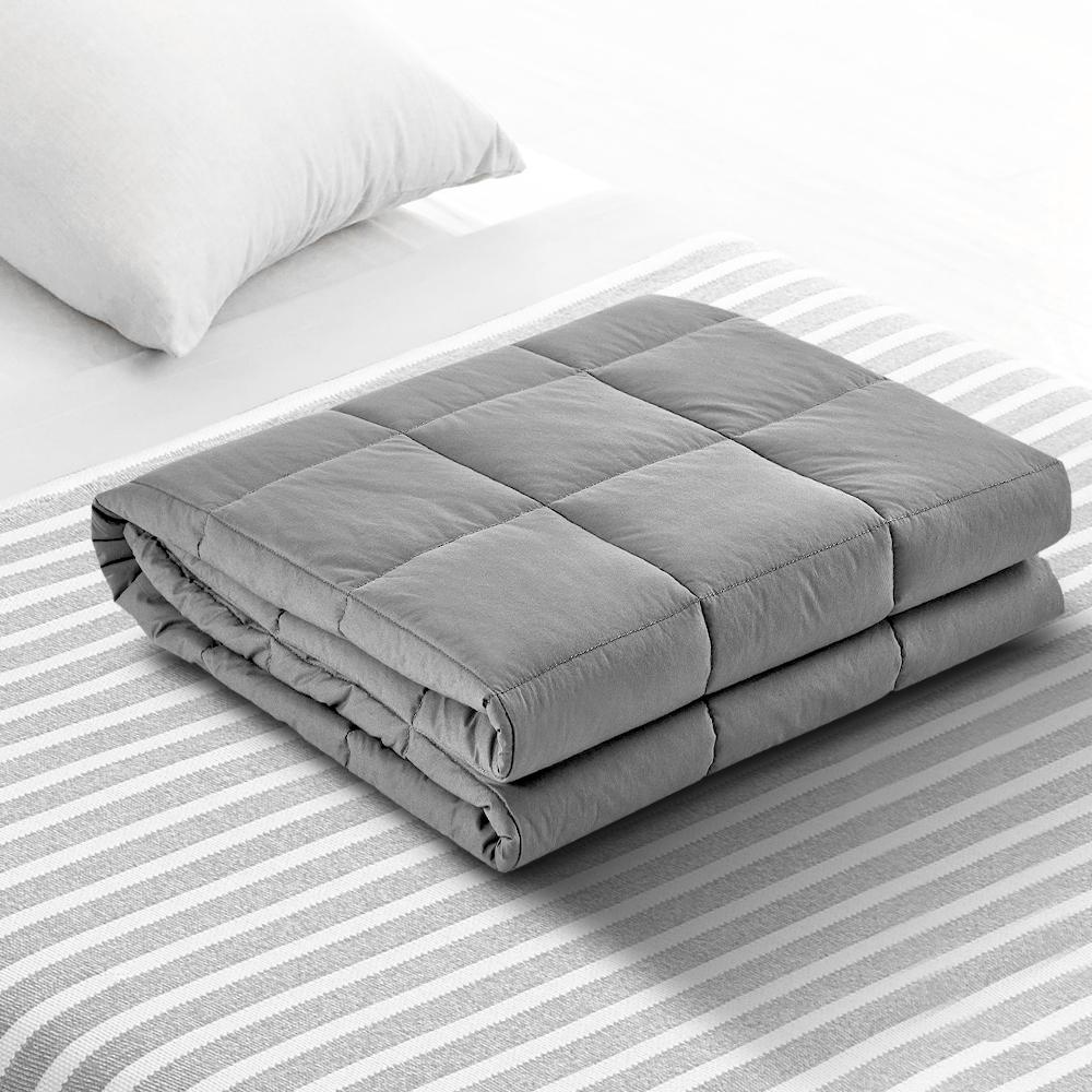 Giselle Bedding 9KG Cotton Weighted Blanket Heavy Gravity Deep Relax Adult Light Grey - Evopia