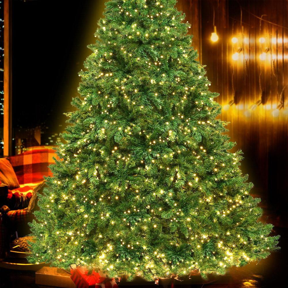 Jingle Jollys 2.4M 8FT Christmas Tree 1488 LED Lights 1488 Tips Warm White Green