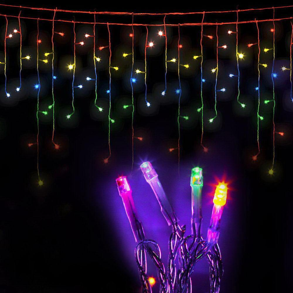 Jingle Jollys 500 LED Solar Powered Christmas Icicle Lights 20M Outdoor Fairy String Party Multicolour