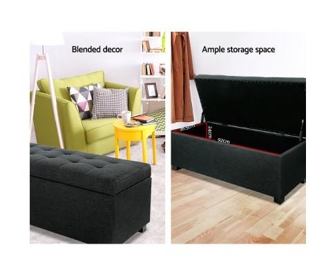 $ 169.00 buy Artiss Large Ottoman Fabric Storage Charcoal save 42% on Evopia.com.au ample storage space