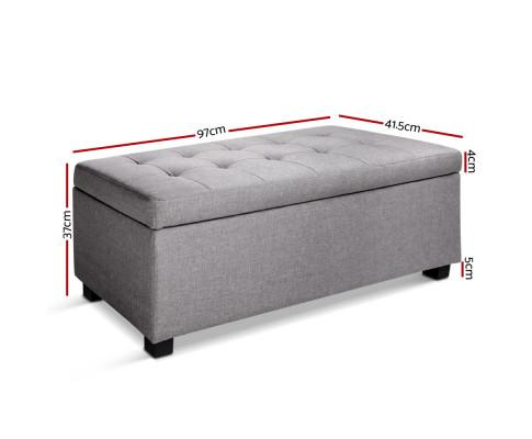 Sale 40% for  Large Ottoman Fabric Storage Light Grey $ 179 on Evopia.com.au (dimensions)