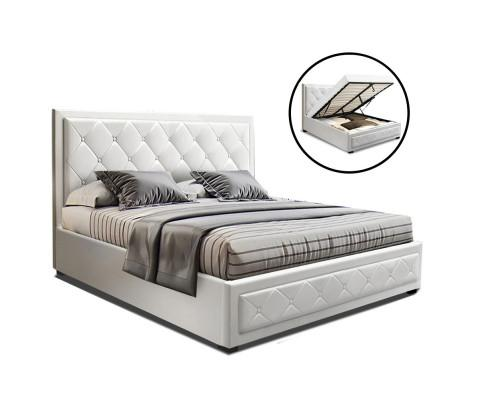 Artiss Tiyo Gas Lift Bed with Storage White Leather - Evopia