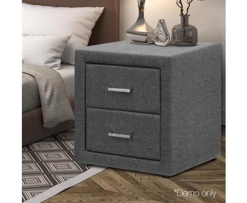 FABRIC 2 DRAWER BEDSIDE TABLE