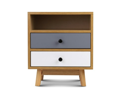 Retro Wooden Bedside Table - Evopia