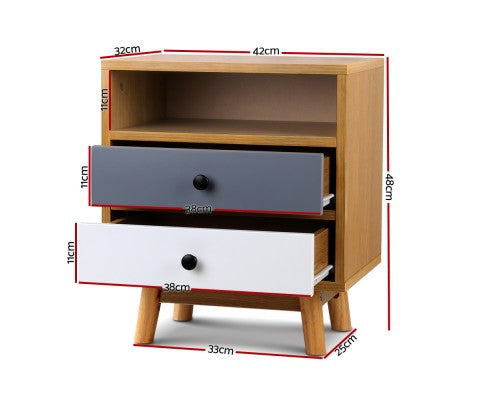 Dimentions of Retro Wooden Bedside Table $ 109.00 | Evopia.com.au