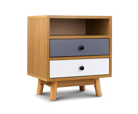 Angle image of Retro Wooden Bedside Table $ 109.00 | Evopia.com.au