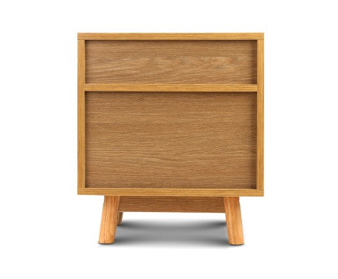 Retro wooden bedside table, back view, Evopia.com.au