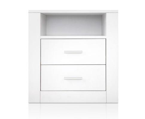 Anti-Scratch White Bedside Table 2 Drawers - Evopia