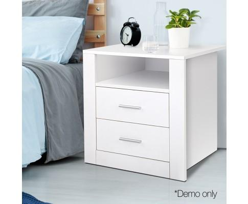 Anti-Scratch Bedside Table 2 Drawers - White - Evopia.com.au