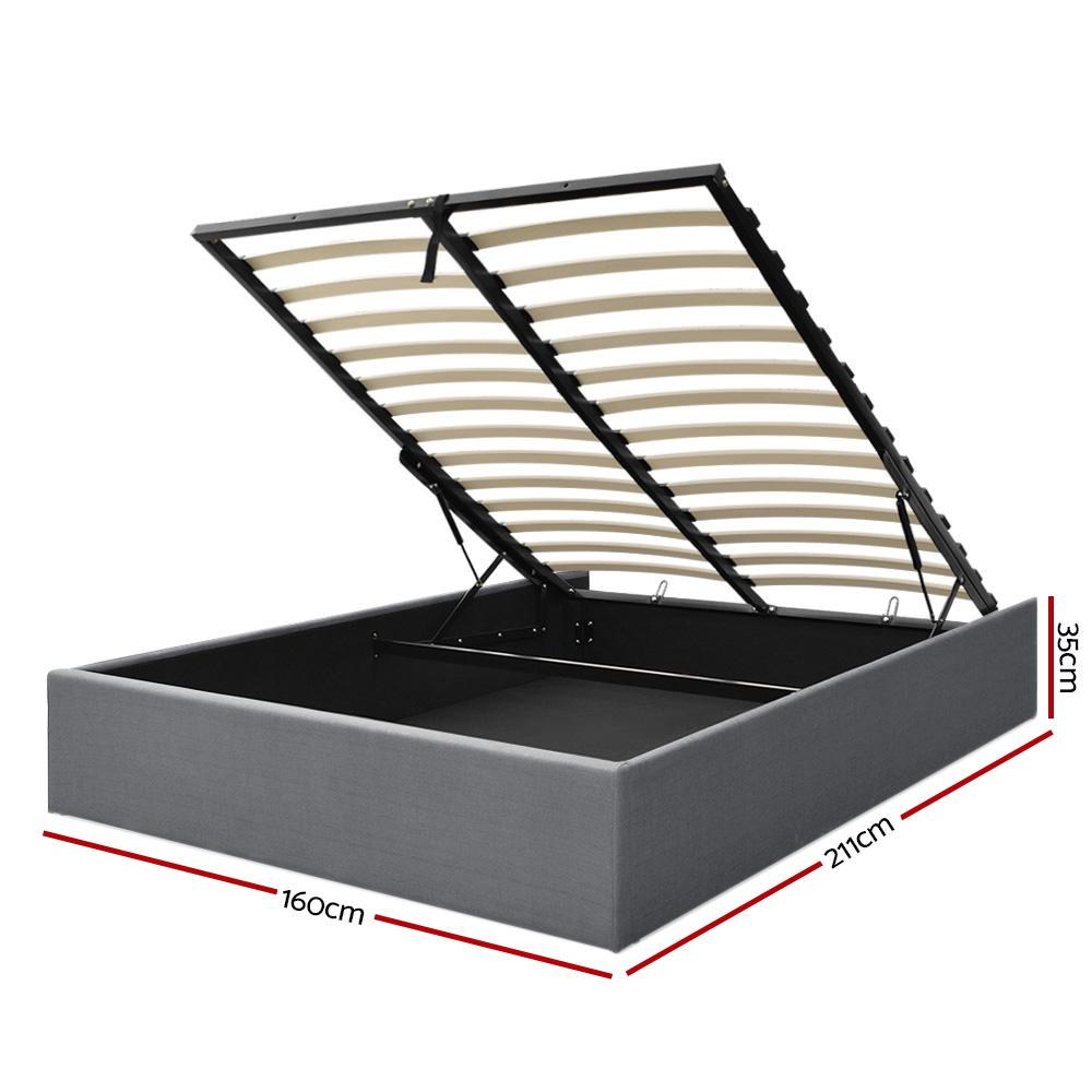 Artiss Gas Lift Bed Frame With Storage Platform Fabric - Evopia