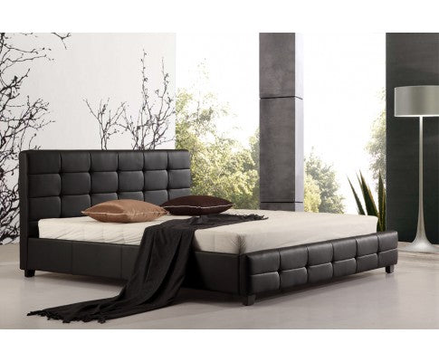 PALERMO DELUXE PU LEATHER BED FRAME IN BLACK - AVAILABLE IN - KING | QUEEN | DOUBLE - Evopia