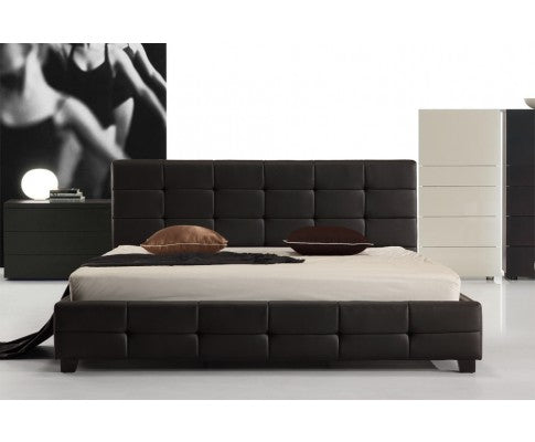 PALERMO DELUXE PU LEATHER BED FRAME IN BLACK - AVAILABLE IN - KING | QUEEN | DOUBLE