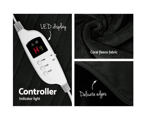 Remote control operated Giselle Bedding Charcoal Electric Throw Blanket | Evopia.com.au