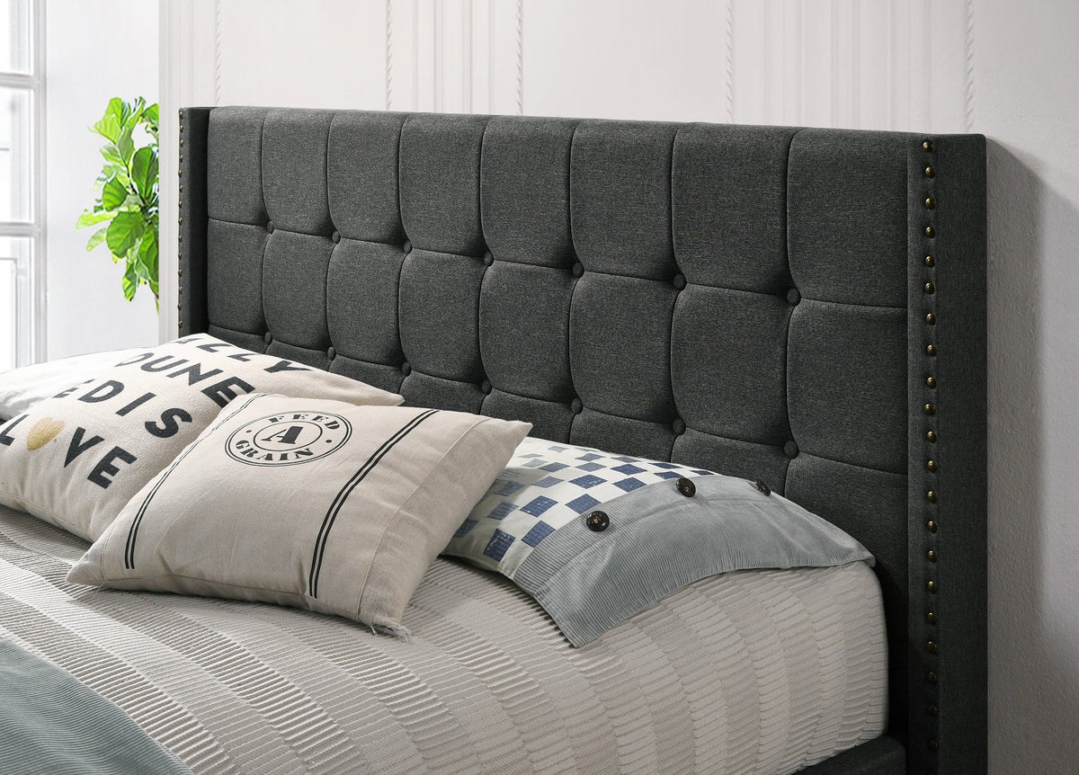 Double Sized Winged Fabric Bed Frame with Gas Lift Storage in Charcoal - Evopia