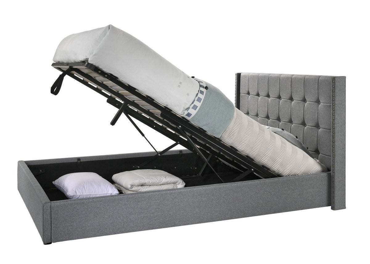 Queen Sized Winged Fabric Bed Frame with Gas Lift Storage in Light Grey - Evopia