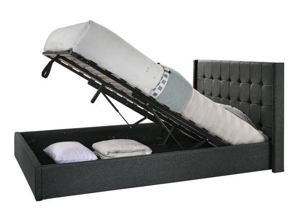 Winged Fabric Gas Lift Storage Bed - Charcoal - Evopia