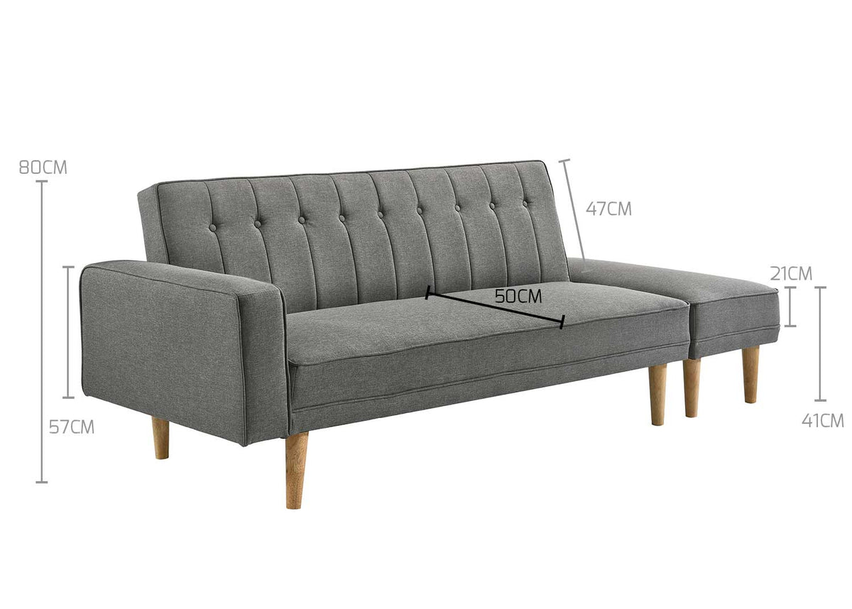 3 Seater Fabric Sofa Bed with Ottoman - Light Grey - Evopia